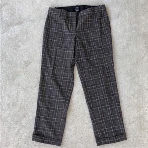 J Crew Brown Striped  Wool Capri Pants Size 6